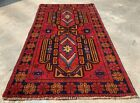 Authentic Hand Knotted Afghan Taimani Balouch Wool Area Rug 5 x 3 Ft (516 HMN)