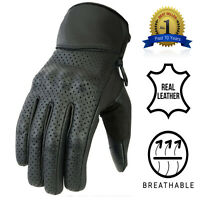 Mens Motorcycle Perforated Gloves Vented Summer Leather Motorbike Protection