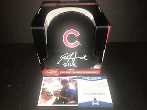 """Ed Howard """"SILK"""" Cubs Signed BLACK MATTE Mini Helmet Beckett WITNESS COA ."""