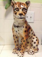 Vintage Italian Capodimonte Porcelain Cheetah Figurine