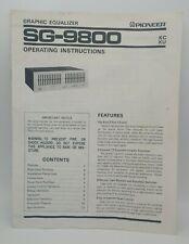 SG-9800 Operating Instructions, Original, OEM