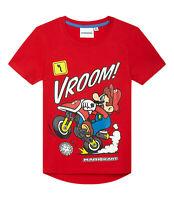 Boys Kids Official Super Mario Kart Red Short Sleeve T Shirt Top