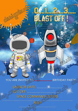 8 x Birthday party invitations card Space Rocket Ship/space/solar system/rocket