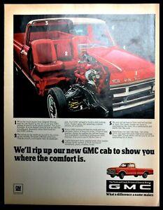 1968 General Motors GMC Pickup Truck Vintage Print Ad Cab Cut a way View