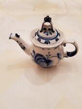 Russian Porcelain. Vintage Gzhel. TEA POT. Hand painted. Height 16 cm.