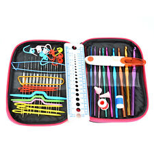 22Pcs Colorful Crochet Hooks Needles Stitches Knitting Tool Set w/Case DIY Craft