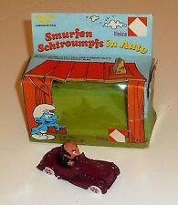 Vintage 1983 Peyo Smurfs - SMURFEN SCHTROUMPFS IN AUTO - Boxed MIB (A1)