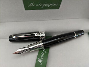 MONTEGRAPPA MIYA CARBON BLACK CELLULOID FOUNTAIN PEN LTED EDITION