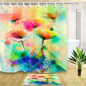 Waterproof Fabric & 12 Hooks Bathroom Shower Curtain oil painting tulip flower