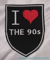 Embroidered Retro Vintage Style I Love The 90s Black Shield Patch Iron On Sew