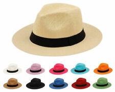 Summer Big Brim Panama Hat, Fedora Flat Brim Beach Sun Fedora Men or Women