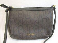 Calvin Klein Designer Gold Logo Small Crossbody Handbag Purse Emblem Makeup