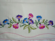One Standard Pillow Case Morning Glory Embroidered Floral Vintage