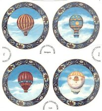 "Hot Air Balloon Sky Clouds 4 pcs 7-1/2"" Waterslide Ceramic Decals Xx"