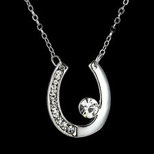 Horse Shoe Fashion Pendant Necklace with Crystal Elements  Crystal Jewellry