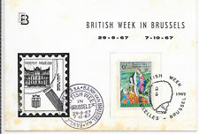 "BELGIUM SOUVENIR CARD 30/9/67 ""BRITISH WEEK IN BRUSSELS"" SLIGHT TONING."
