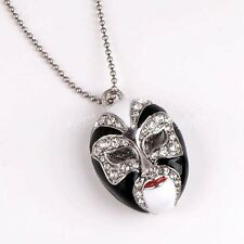 1pc Black Enamel Rhinestone Beads Peking Opera Pendant Fashion Jewellery Gift