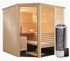 Sauna Massivholz Eckeinstieg Glas Harvia Cilindro Saunaofen Xenio Steuergerät