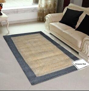 Rug 100% Natural Jute Braided style Runner Rug Rustic look area Carpet rag Rug