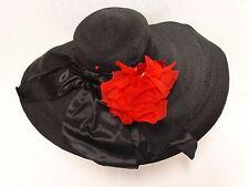 VTG 1940's BLACK STRAW WIDE BRIM FLOPPY HAT Ribbon & Red Rose Weyman California