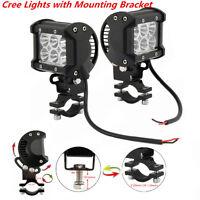 2Pcs 18W CREE LED Driving Fog Spot Spotlight Headlight w/ Mounting Bracket ATV