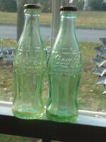 Coca-Cola 6 Oz 2 Green Bottles MANCHESTER PORTLAND Hobble Skirt Cork Seal (M0 D)