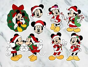 x7 Mickey - Minnie mouse vinyl decal Christmas stickers colour Stocking filler