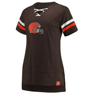 Cleveland Browns Fanatics Branded Women's Lace Up T-Shirt - Brown/Orange NWT