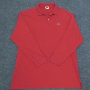 Vintage LACOSTE Long Sleeve Polo Shirt MADE IN USA Red Alligator Men's 2XLTTall