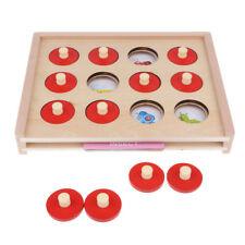 Wooden Memory Matching Game Set Numbers Animals Color Shapes Learning Toy