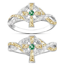 925 Silver Rings Emerald Womens Wedding Jewelry Ring Gold Silver Gift Acces
