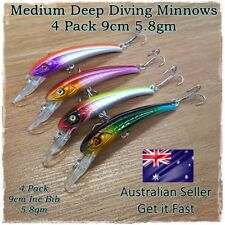 4x Bream & Flathead Fishing Lures Tailor, Salmon, Mullaway, Whiting, Deep Diving