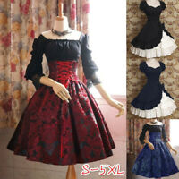 Medieval Renaissance Women Floral Dress Lolita Halloween Retro Cosplay Costume