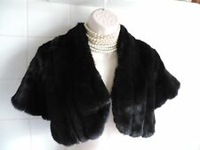 Vintage 1920's Black FUR BOLERO Wrap Shrug Flapper Gatsby Charleston Coat Jacket