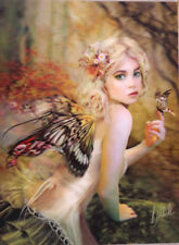 3D Picture Gothic Art Fairy with Butterfly Size 39 x 29 cm approx New