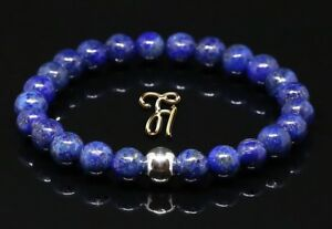 Lapislazuli 925er sterling Silber Armband Bracelet Perlenarmband blau 8mm