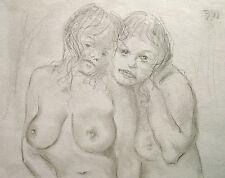 Rudolf disco 1918-2002 Solnhofen/DISEGNO/due intime atti di sesso femminile 1982