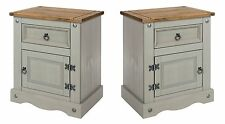 PREMIUM Corona Grey Washed-Effect Solid Pine Bedside Cabinets Pair x2
