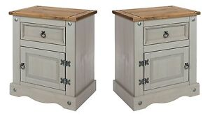 Premium Corona Grey 2x 1 Drawer Bedside Cabinet Solid Wood Pine Washed Effect