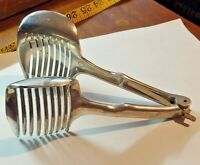 "Vintage Aluminum Tomato Slicer Tongs 7 1/2"" Egg Onion Guide Grabber Holder"