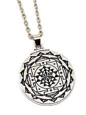 Chakras Colgante sri yantra 3rd Eye Amuleto Talismán Plateado hindú 18 in (approx. 45.72 cm) Cadena