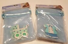 Baby Blue Carriage Outfit Organza Pouches New 12 bags