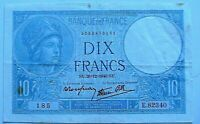 1940 France 10 Francs Ch XF Extra Fine Original Paper Money Note Currency P-84
