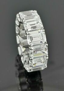 White Emerald 925 Sterling Silver Eternity CZ Engagement Band Ring Women