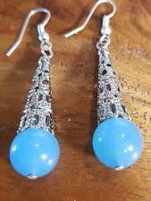 BLUE TOPAZ QUARTZ  DANGLE DROP LADY,S EARRINGS