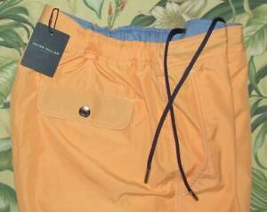"$168 PETER MILLAR Collection Orange 7"" Lined Swim Trunks Shorts Medium NWT"