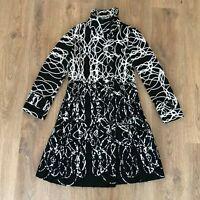 Desigual Style 96E2922 ladies womens black white pattern coat size 38