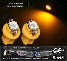 LED SMD T5 Cap B8.5D 509T Amber Yellow Dashboard Cluster Speedo Light Bulbs 12V