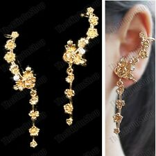 CLIP ON PAIR EAR CUFF ornate EARRINGS big GOLD FASHION vine ROSE crystal FLOWER