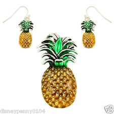 PINEAPPLE Pendant & Matching Pierced Earrings-Tropical Green Pendant 2 1/2""